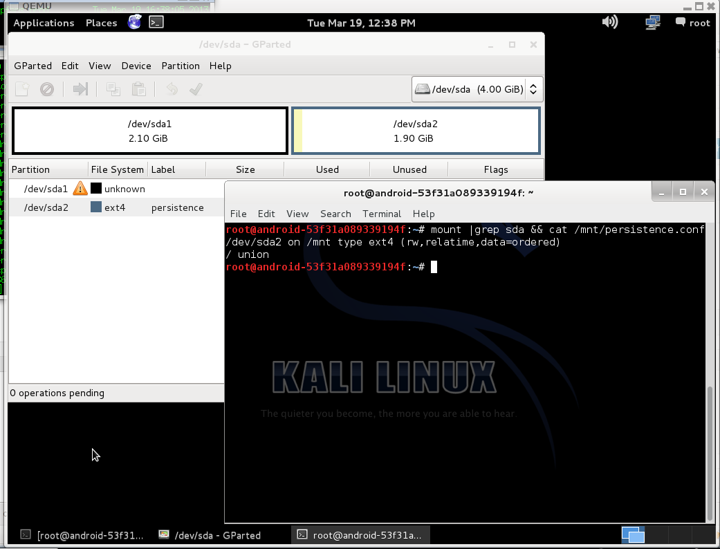 Kali - old partition table